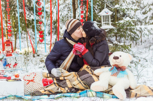 романтический зимний пикник