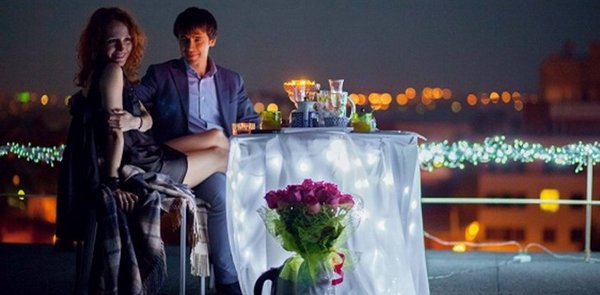 романтический ужин на крыше
