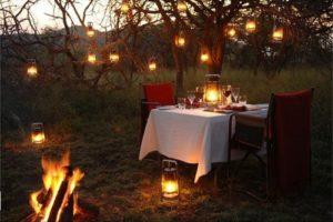 romantic dinner in the tent